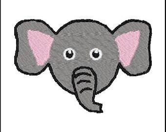 Elephant Face Embroidery Design