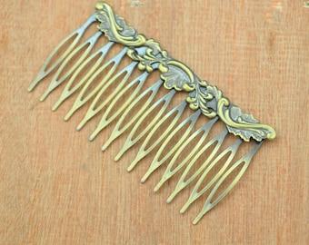 10pcs Antique Bronze Filigree hair combs 14Teeth,brass Hair Comb,iron hair comb,wedding hair comb,hair accessories,flower hair comb,75x40mm