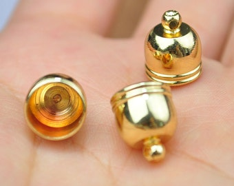 25pcs --8mm Gold Plated End Caps Kumihimo Clasps Round Style Leather Cord Ends Glue In End Caps Thick Cord Caps