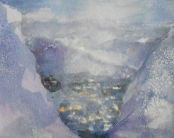 Original watercolor painting blues purple North Carolina mountain valley night