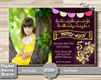 Birthday Party Invitation Printable, Birthday Photo Invitation Girl, Girl Invitations, Girl Birthday Invitation, Birthday Invites Yellow