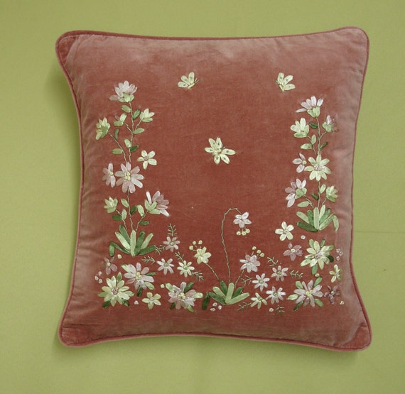 Pink velvet ribbon embroidery cushion cover cu