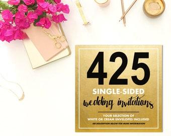 425 SINGLE-SIDED Wedding Invitations w/Envelopes