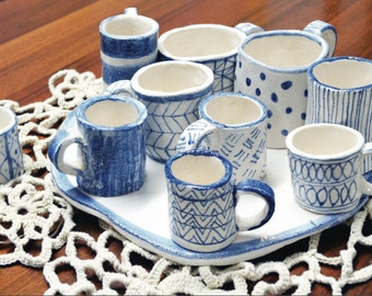 Tray and coffee cups, Home Decoration, Maiolica Decoration, Design, Modern Coffee Cups