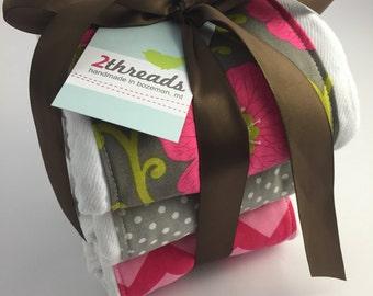 Pink and Grey Burp Cloths - Set of 3 Coordinating Burp Cloths