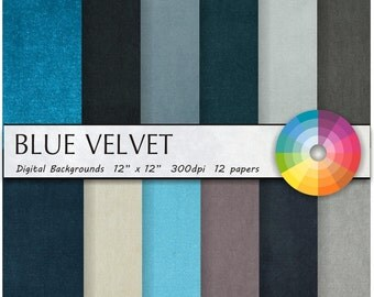 BLUE VELVET digital paper digital paper pack digital paper scrapbook paper scrapbook paper pack paper pack digital commercial use