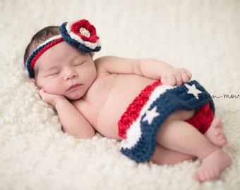 Baby Girl  American Flag,  Baby Crochet Skirt and headband, American Flag outfit--Newborn Photography