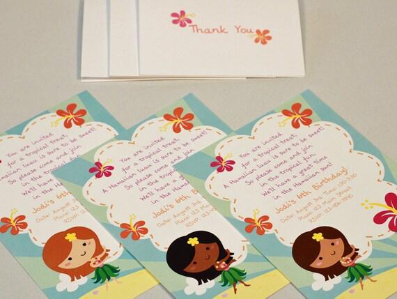 Custom Hawaiian Luau Birthday Party Invitations And Thank You Notes