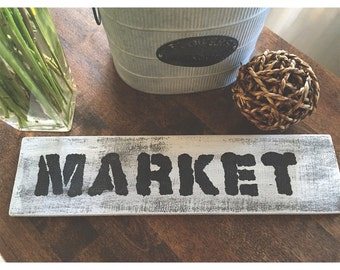 MARKET distressed wood sign, Kitchen, Rustic, Farmhouse Style