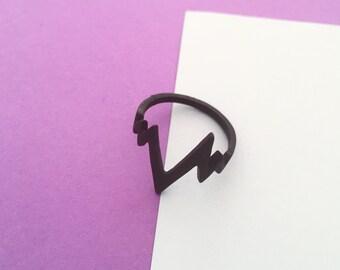 Heart Pulse Matte Black Statement Ring