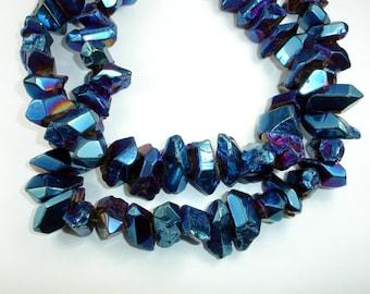 Blue Titatnium Coated Quartz Blue Mystic  Crystal Nugget, Full strand, 37 - 40 beads, Hole 1mm (362020006)