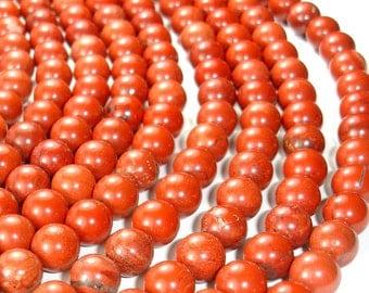 Red Jasper Beads, Round, 10mm, 15.5 Inch, Full strand, 38 beads, Hole 1mm (371054004)