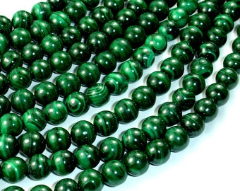 Natural Malachite, 8mm Round Beads, 16 Inch, Full strand, Approx 50 beads, Hole 1mm (312054801)