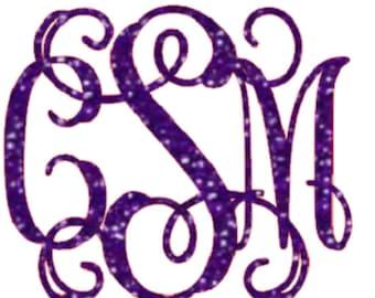 glitter vine font monogram , heat transfer iron on , custom iron on , glitter initials , personalized iron on ,