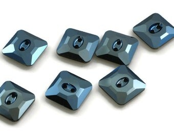 Swarovski Crystal Button 3017 Metallic Blue M-Foiled 14mm Square