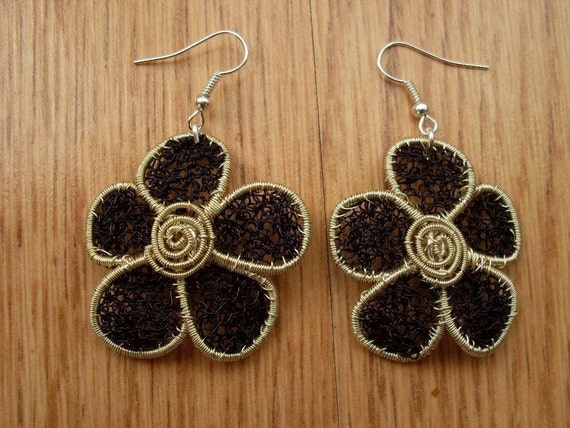Crochet wire jewelry, crochet wir earrings, wire earrings, handmade ...