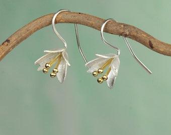 Golden Crocus / Silver Flower Earrings / Drop Earrings / Earrings for Pierced Ears / Gold and Silver jewellery / ear wire/ hand crafted