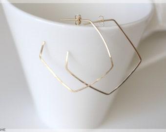 Delicate pentagon hoop earring