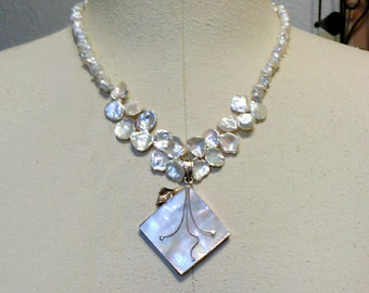 necklace with keishi pearls and mother of pearl pendant