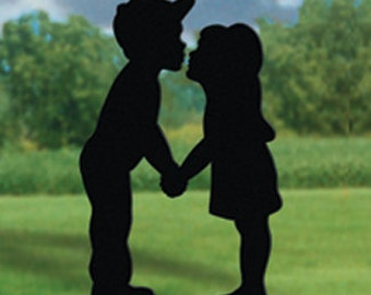 Little Boy and Little Girl KIssing Yard Shadow