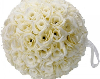 New 9.84 inch Wedding Decor Romantic Super Flower Kissing Ball Ivory