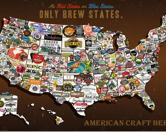 United States, USA, US Craft Beers Brew States Wall Map Poster Wall Hanging and Decoration for Beer Lovers, Restaurants, Bars and Man Caves