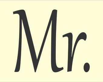 WEDDING STENCIL Mr. and Mrs. Stencils  10 x 14 Set of 2  - Make your own wedding pillows