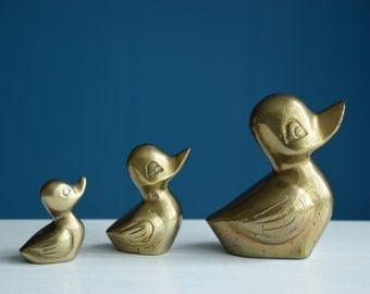 Vintage Midcentury Modern Brass Mama Duck and 2 Babies