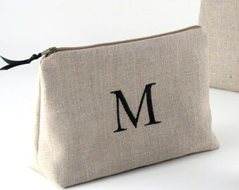 FREE SHIPPING - Bridesmaid Personalized Cosmetic Bag // Bridesmaid Linen Clutch // Monogrammed Makeup Bag //  Bridesmaid Gift