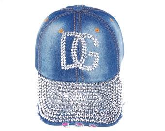 Full Silver Rhinestone Brim Glued DG Blue Denim Jeans Baseball Caps Hats for Summer