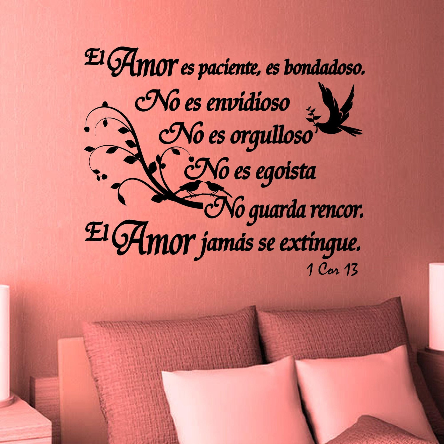 Wall decal bible scripture 1 corintios 13 el amor vinilos for Vinilos decorativos