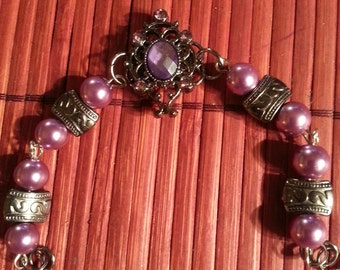 Gunmetal purple bracelet