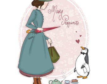 Print illustration of Mary Poppins