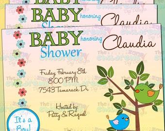Baby Shower Birds Invitation - Boy 2