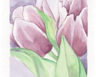 Purple Tulips | 4x6 Original Watercolor