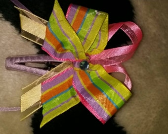 Handmade neon stripped hair bow!