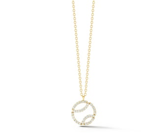 "AF Jewelers ""Tennis Anyone?"" Small Pendant Necklace with Diamonds and with Chain, 18k Yellow Gold."