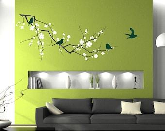 Tree Wall Decal Cherry Blossom with Birds - Vinyl Wall Art