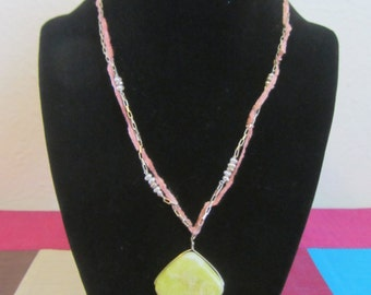 No. 14 Fresh Water Pearl, Fiber, and S/S Necklace