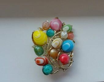 1950s brooch Vintage Brooch Bright Vintage Brooch - Summer Brooch - Unique Brooch - Colorful Brooch - Fashion Brooch