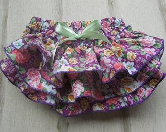 Diaper Cover, Cotton Diaper Cover, Purple Chintz, Ruffle Diaper Cover, 100% Cotton, Organic Diaper Cover, Soft Ruffles
