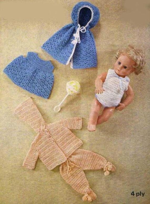 Crochet Pattern For Dolls Pram : Items similar to Crochet Baby Doll Clothes Cape Dress Vest ...