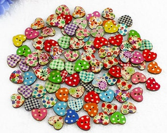 30 x wooden 15mm heart buttons