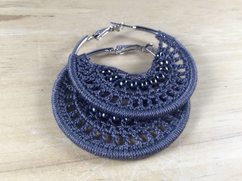 grey bohemian crochet hoop earrings unique beaded by