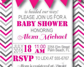 Pink and Grey Baby Shower Invitation, Digital