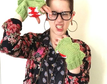 Dinosaur mittens. Hand knitted green dino mittens/fingerless gloves with mouth detail