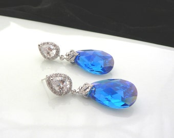 Swarovski capri blue aurore boreale crystal wedding earrings with cubic zirconia teardrop dangle and silver posts bridesmaid gift