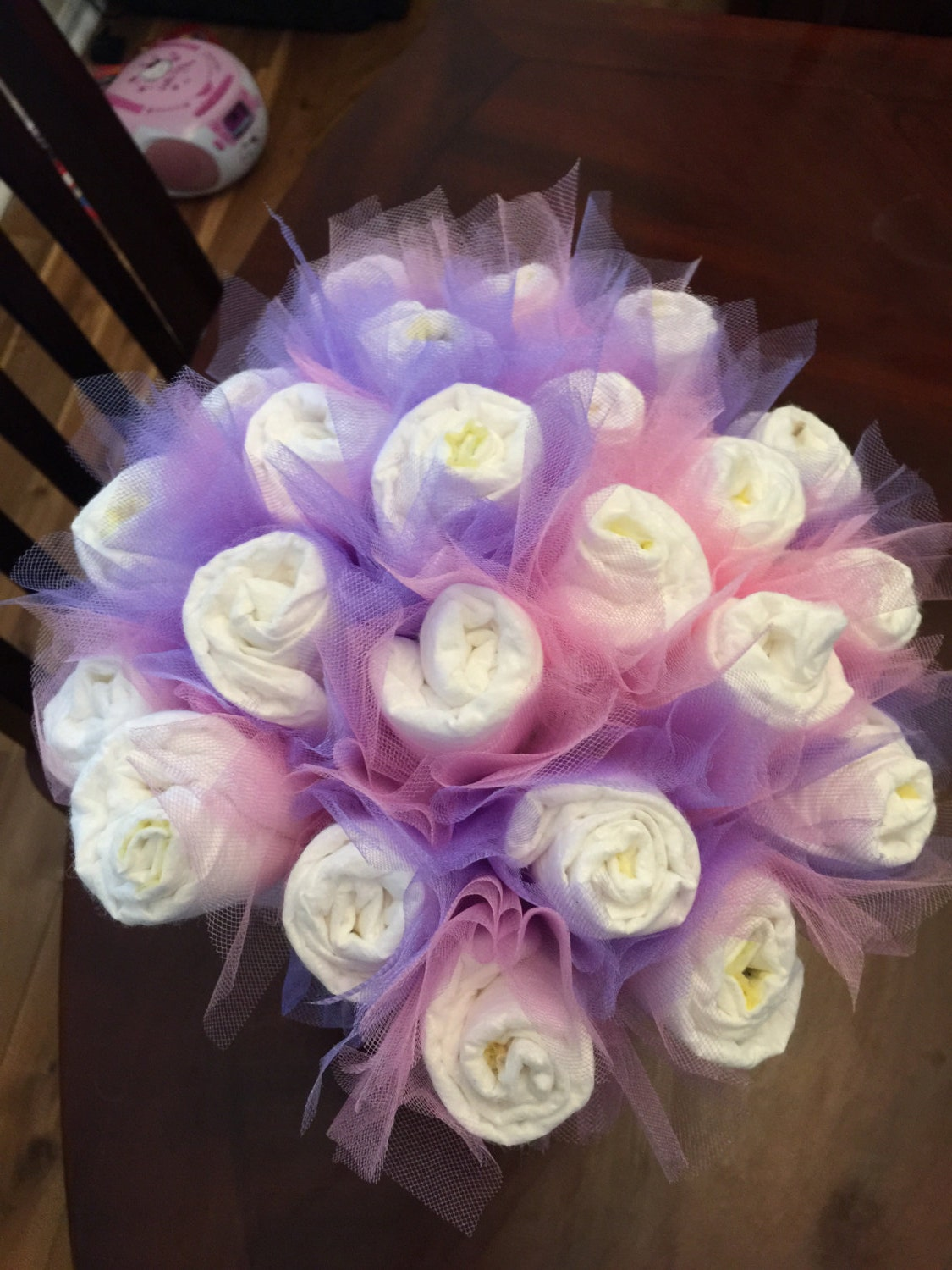 Diaper bouquet by littlehappytreasure on etsy for Pink diaper bouquet