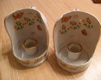 2 1960's Vintage Enesco Bone China Candle Holders . Made in Japan. Orange and Yellow Butterflies and Flowers.  Good Condition.