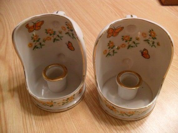2 1960 S Vintage Enesco Bone China Candle Holders Made